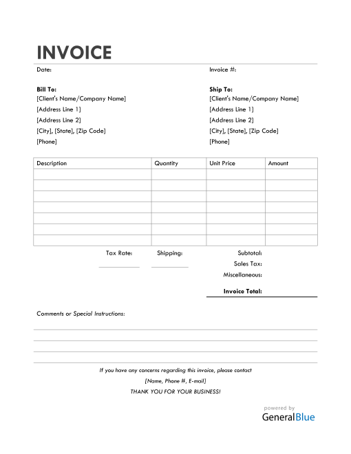 Bill Of Sale Invoice in Word (Simple)