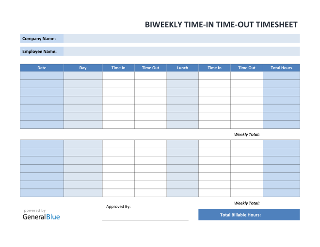 Biweekly Time In Time Out Timesheet in PDF