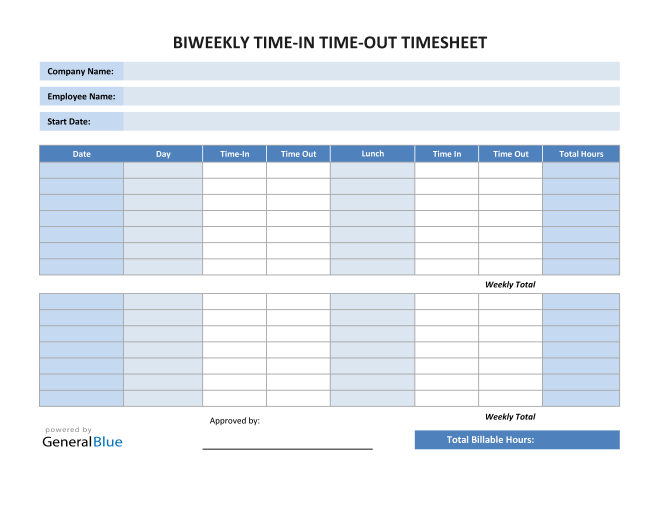 Excel Biweekly Time In Time Out Timesheet