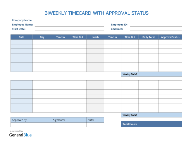 Biweekly Timecard With Approval Status in PDF