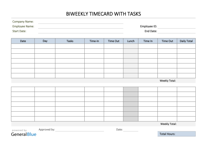 Excel Biweekly Timecard With Tasks