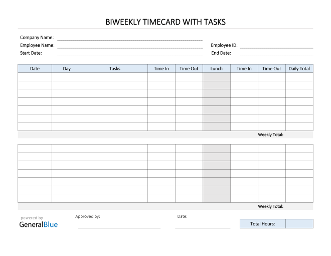 Biweekly Timecard With Tasks in PDF