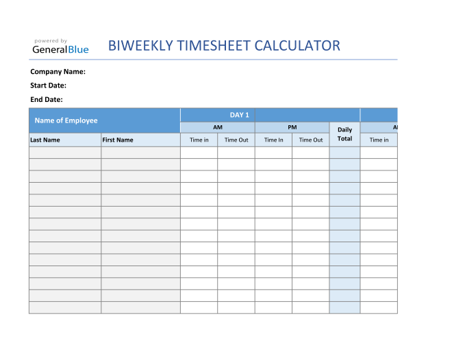 Biweekly Timesheet Calculator For Multiple Employees in Excel