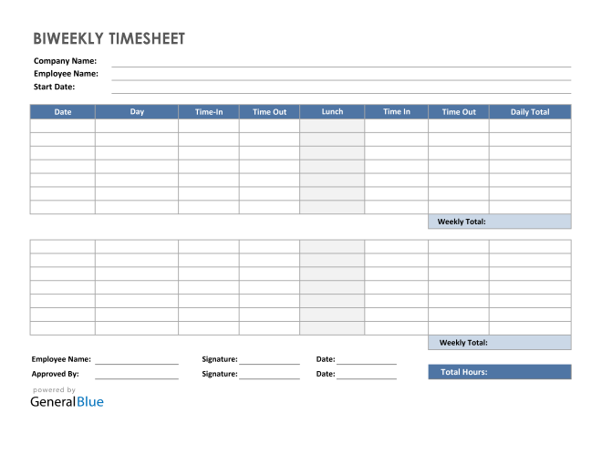 Biweekly Timesheet with Lunch Break in Excel