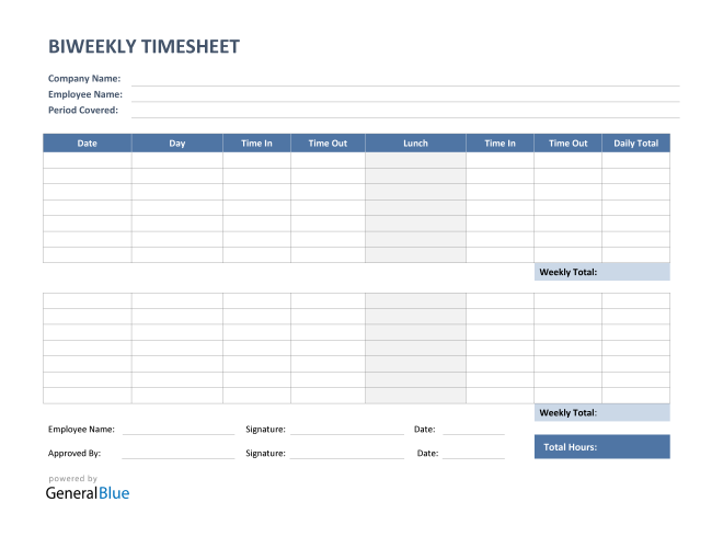 Biweekly Timesheet with Lunch Break in PDF