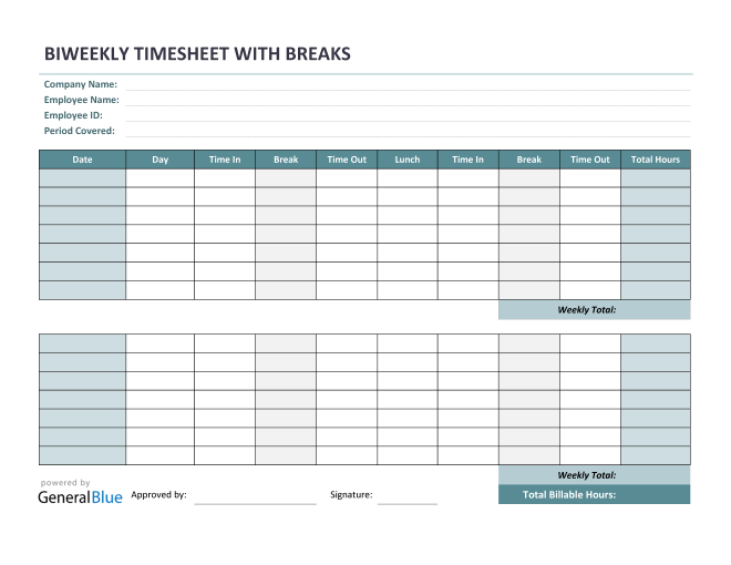 Biweekly Timesheet With Multiple Breaks in PDF