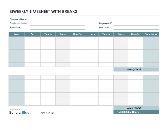 Biweekly Timesheet With Multiple Breaks in Excel