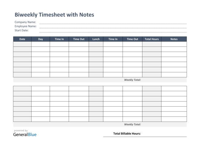 Biweekly Timesheet With Notes in PDF