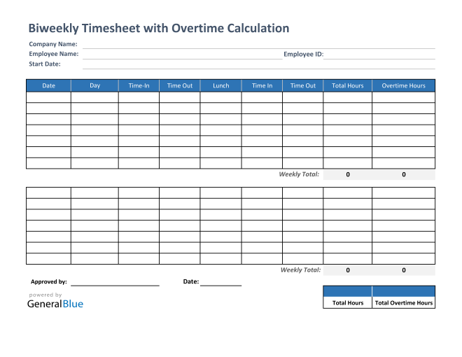 Biweekly Timesheet With Overtime Calculation in Excel