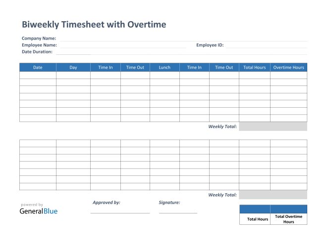 Biweekly Timesheet With Overtime Calculation in PDF