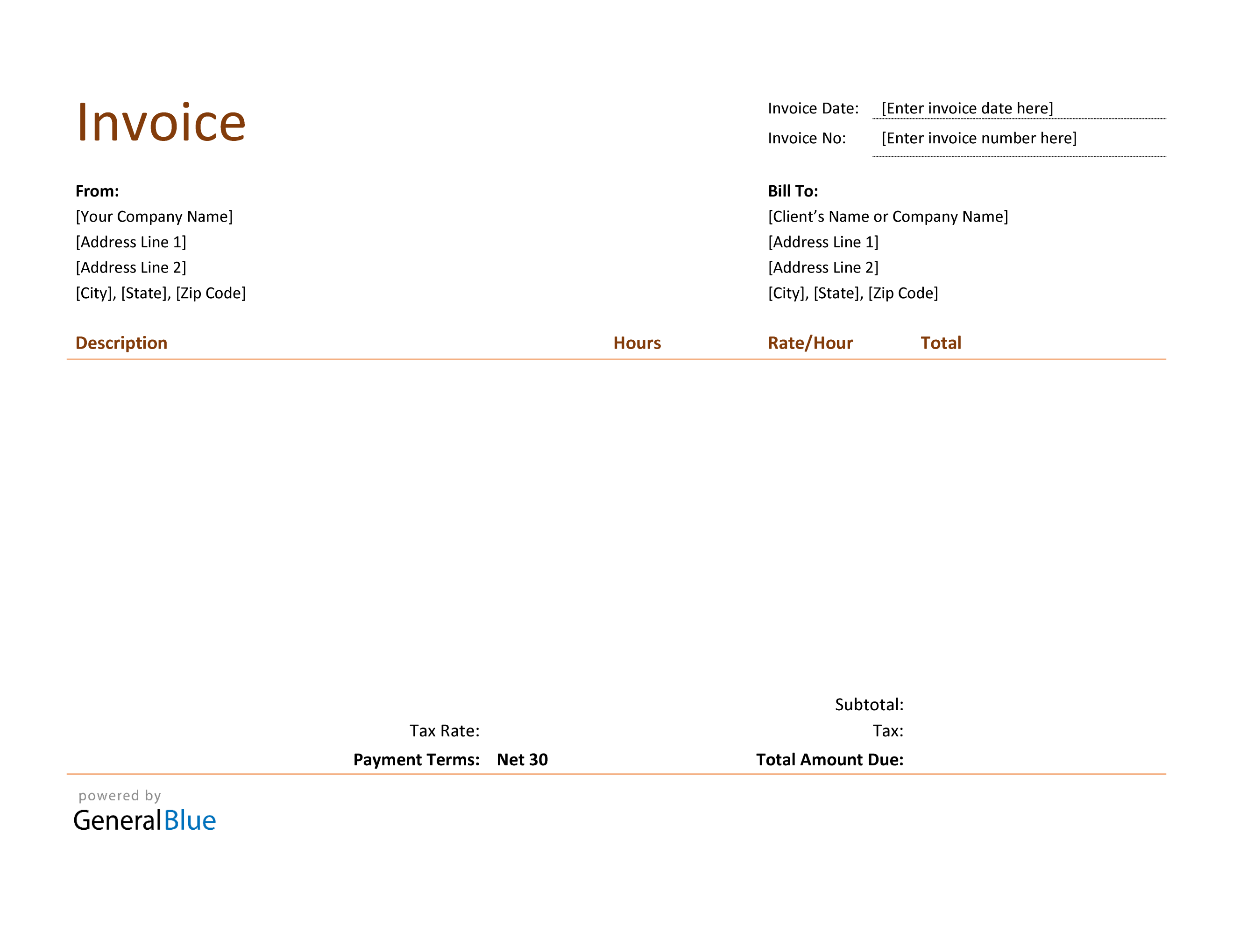 Blank Invoice Template In Word Basic