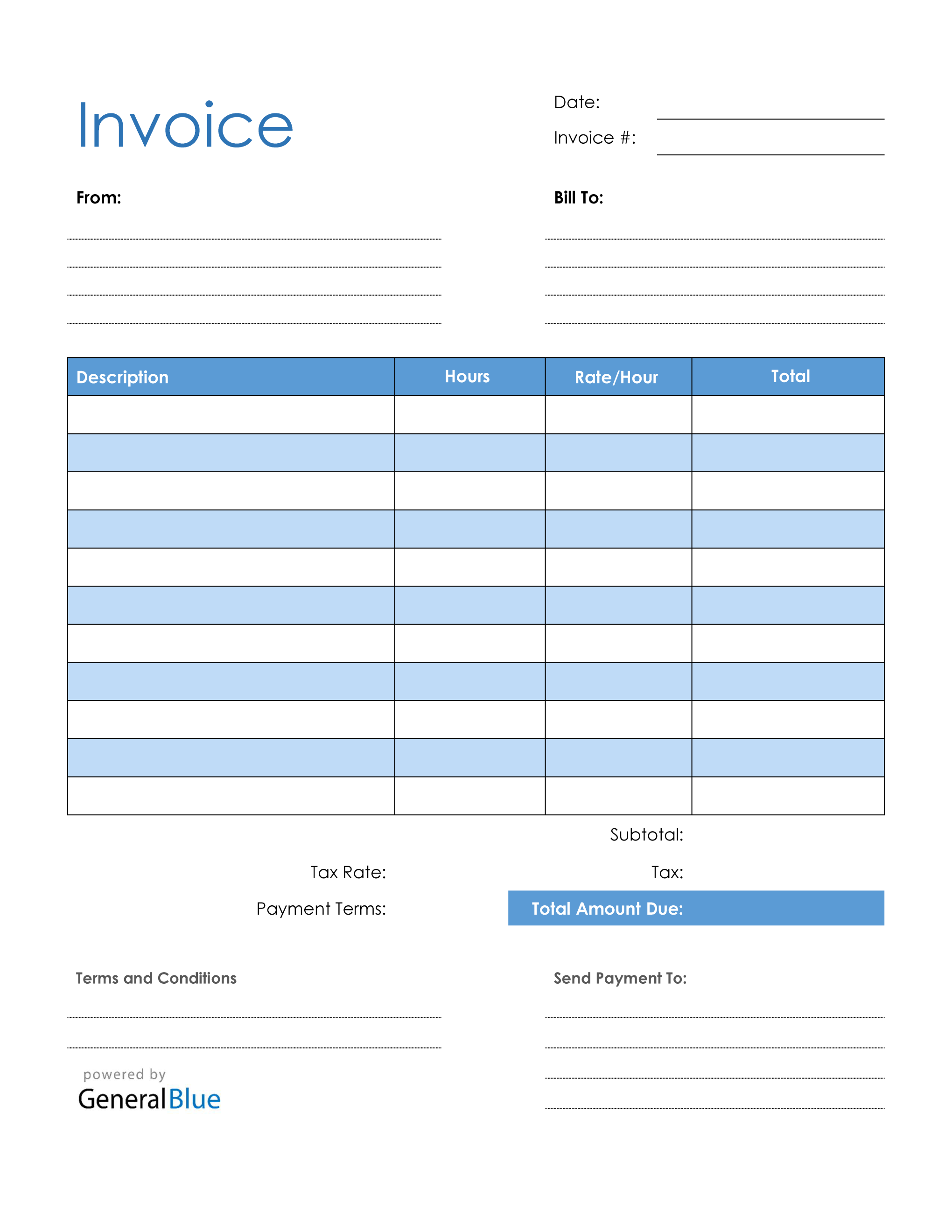 Blank Invoice Template In Pdf Blue