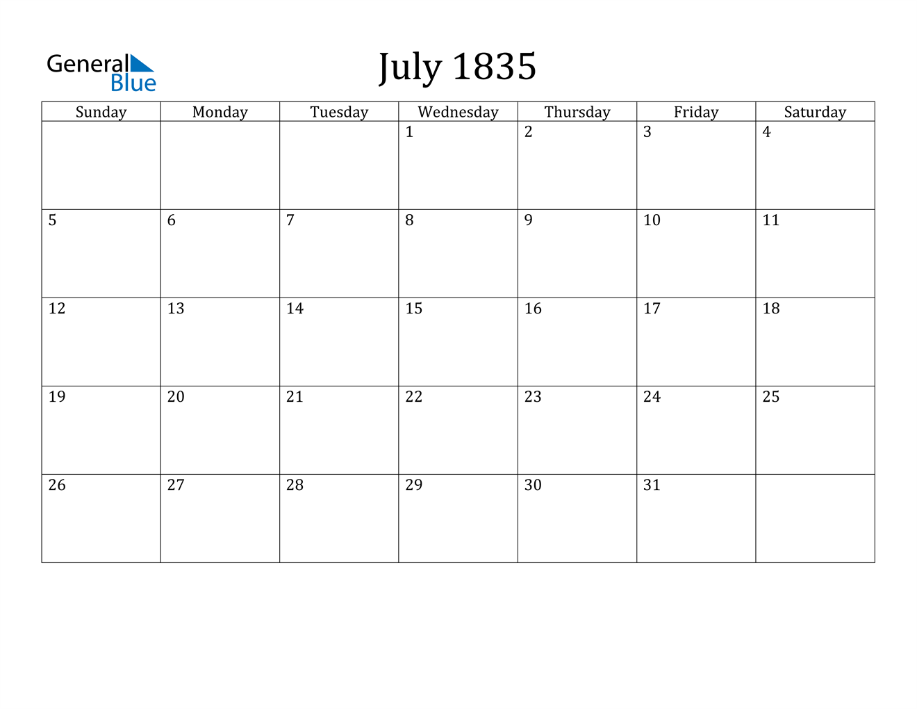 Image of July 1835 Calendar