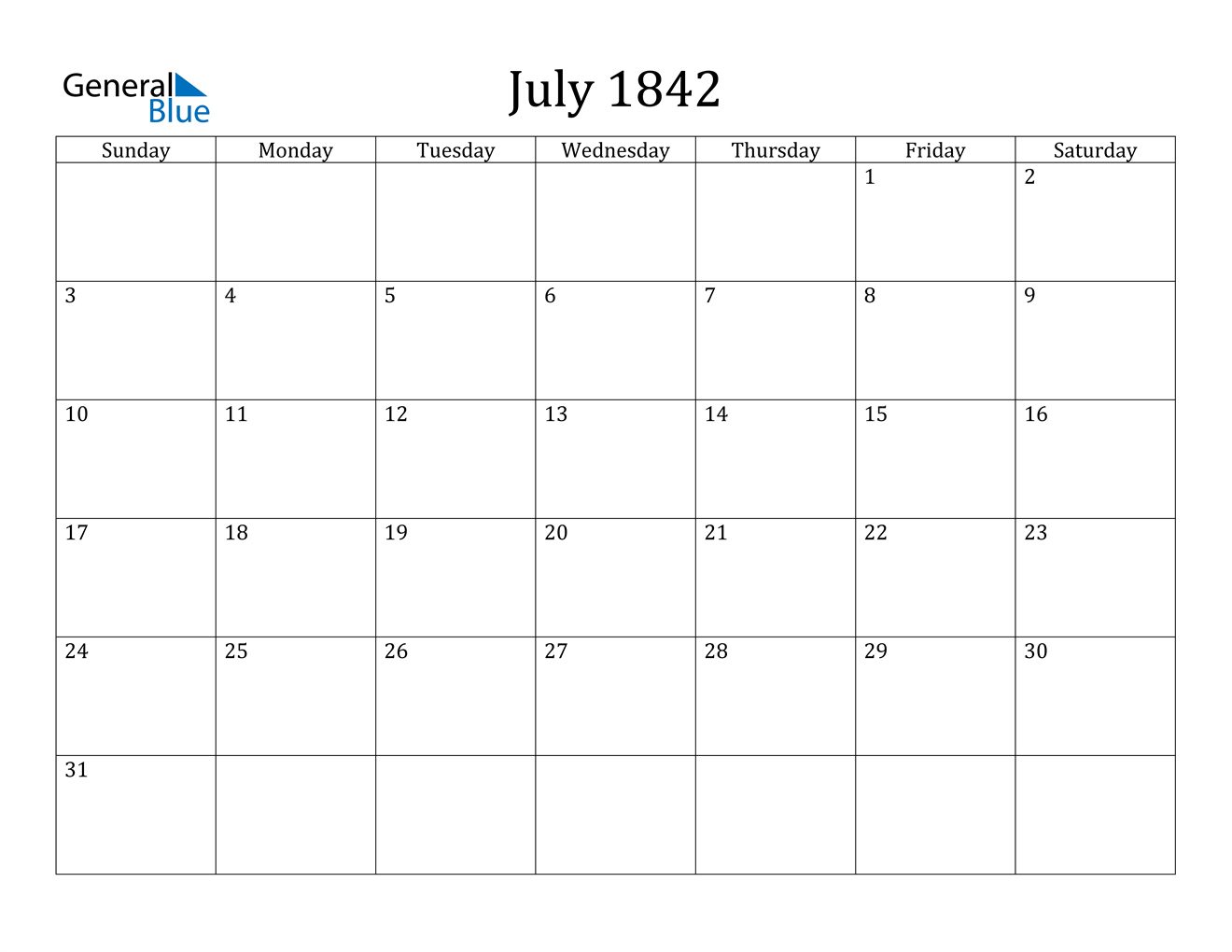Image of July 1842 Calendar