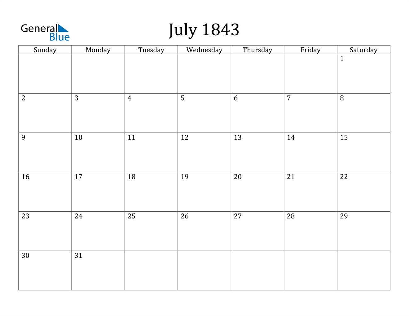 Image of July 1843 Calendar