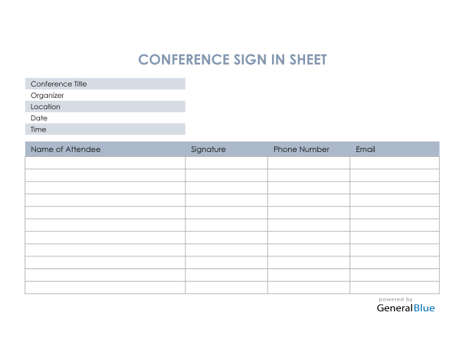 Conference Sign In Sheet in Excel