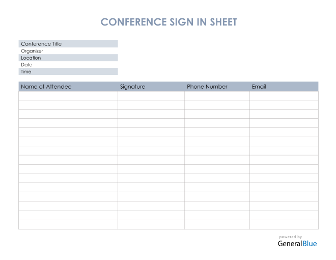 Conference Sign In Sheet in PDF
