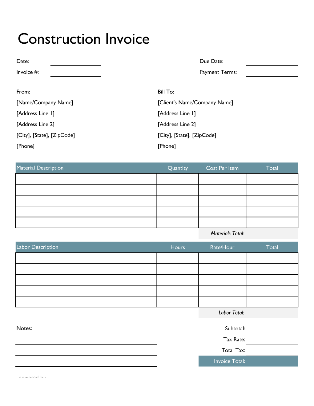 Construction Invoice Template In Excel Colorful