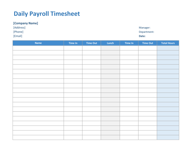 Daily Payroll Timesheet in Excel