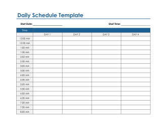 Daily Schedule Template in Excel