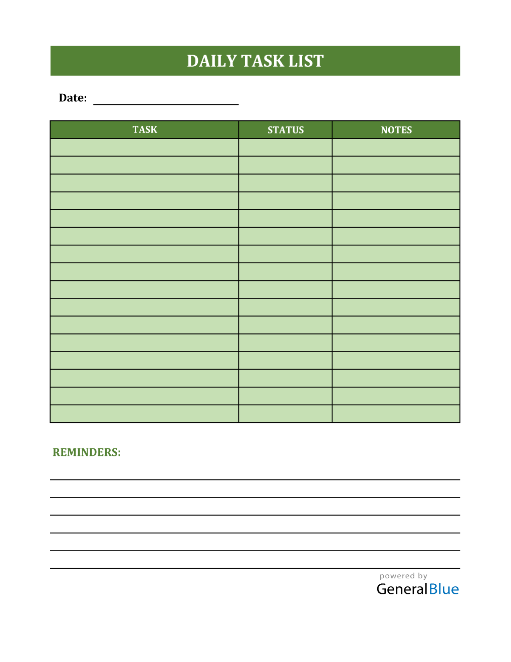 Daily Task List Template in Excel
