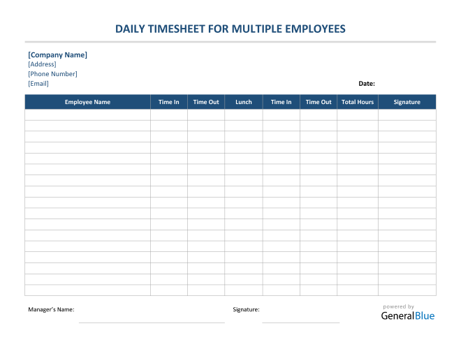 Daily Timesheet For Multiple Employees in Word