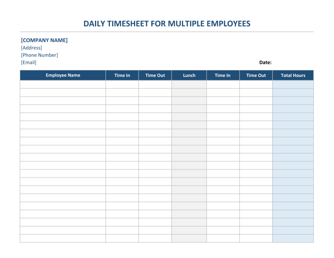 Daily Timesheet For Multiple Employees in Excel