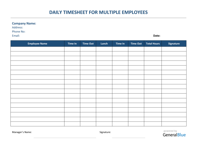 Daily Timesheet For Multiple Employees in PDF