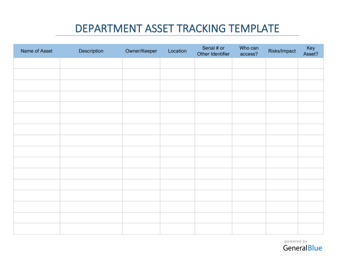 Department Asset Tracking Template in Word