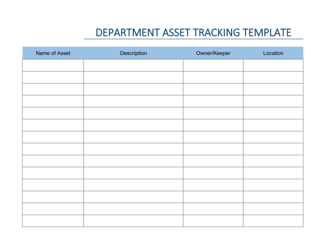 Department Asset Tracking Template in Excel