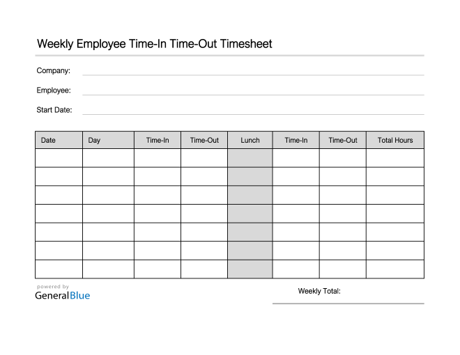 Employee Timesheet in PDF (Simple)