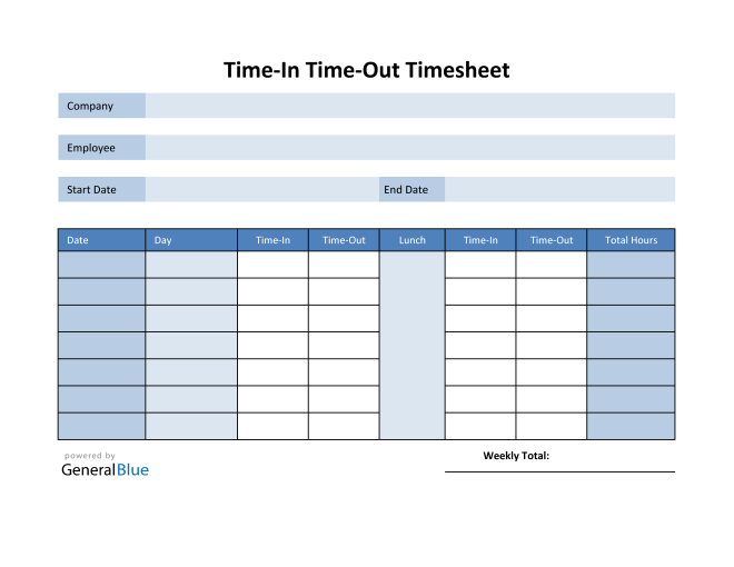 Employee Timesheet in Excel (Blue)