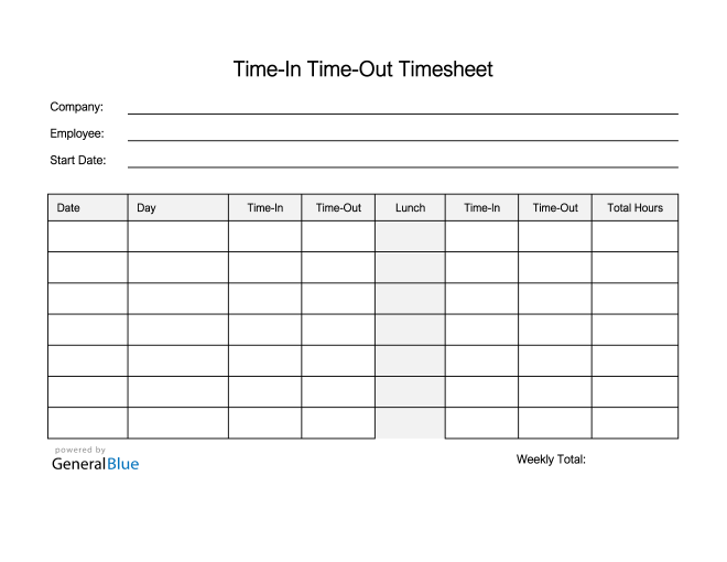 Employee Timesheet in Excel (Printable)