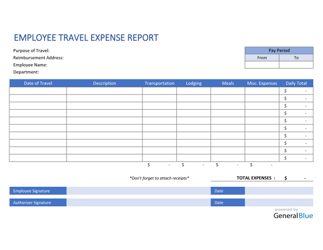 Employee Travel Expense Report Template in Excel