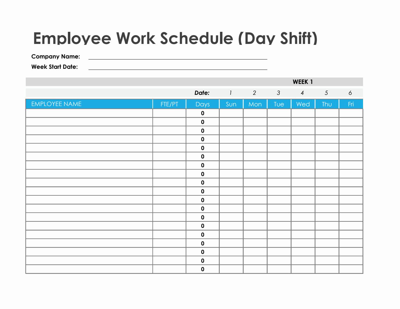 Employee Work Schedule In Excel