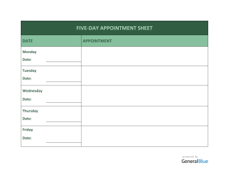 Five-Day Appointment Sheet Template in Word (Printable)