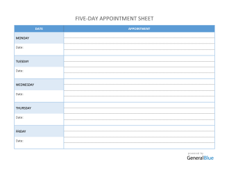 Five-Day Appointment Sheet Template in Word (Basic)