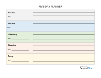 Five-Day Appointment Sheet Template in Word (Colorful)