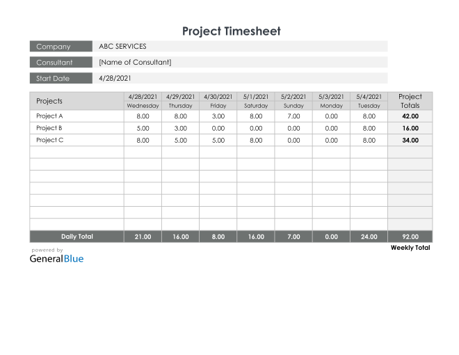 Project Timesheet in Excel (Printable)