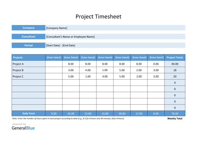 Project Timesheet in PDF (Basic)