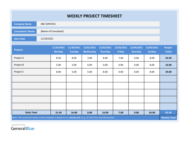 Project Timesheet in Excel (Blue)