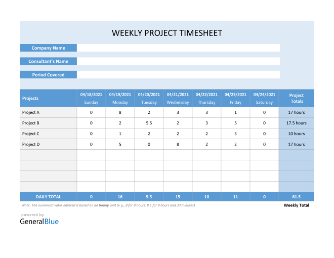 Project Timesheet in Word (Blue)