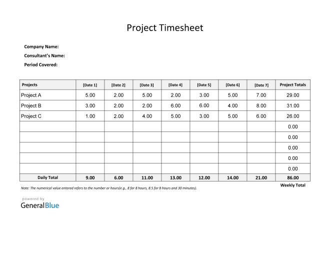 Project Timesheet in PDF (Simple)