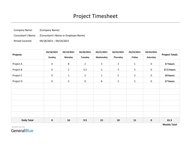 Project Timesheet in Word (Simple)