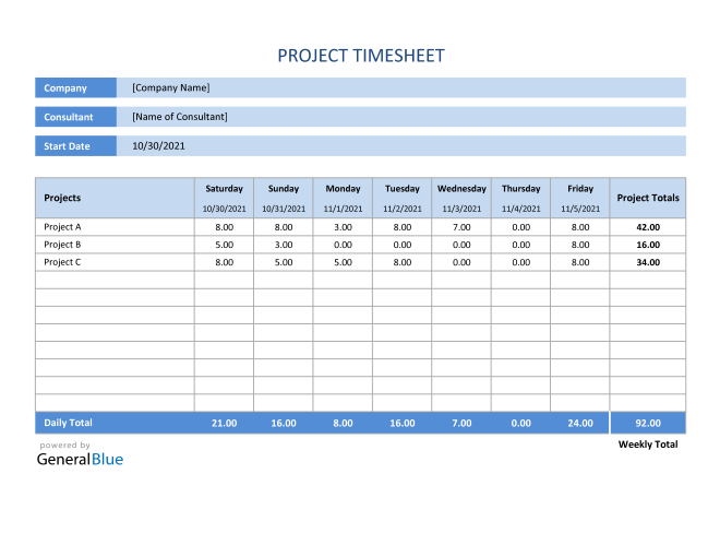 Project Timesheet in Excel (Basic)