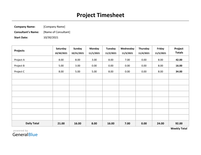 Project Timesheet in Excel (Simple)