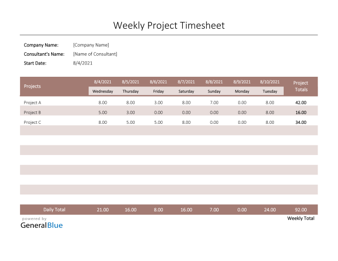 Project Timesheet in Excel (Colorful)