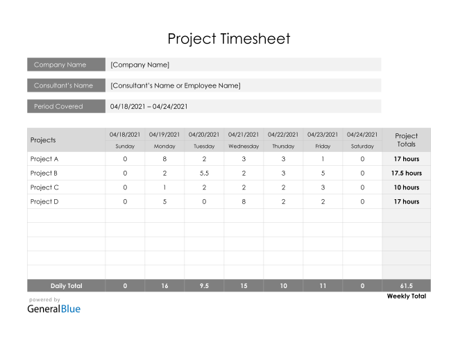 Project Timesheet in Word (Printable)