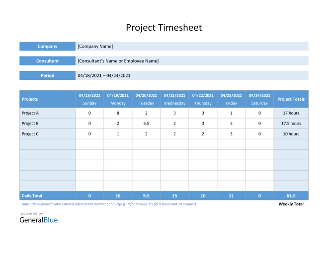 Project Timesheet in Word (Basic)