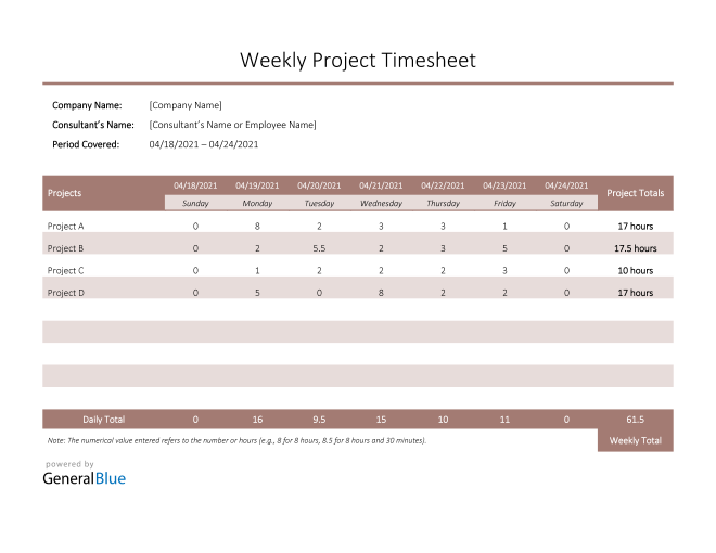 Project Timesheet in Word (Colorful)